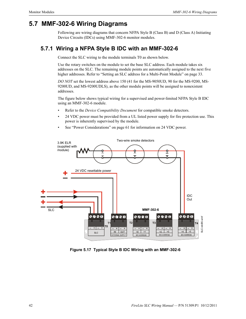 7 Mmf 302 6 Wiring Diagrams 1 A Nfpa Style B Idc With An Class Diagram Fire Lite Slc Intelligent Control Panel