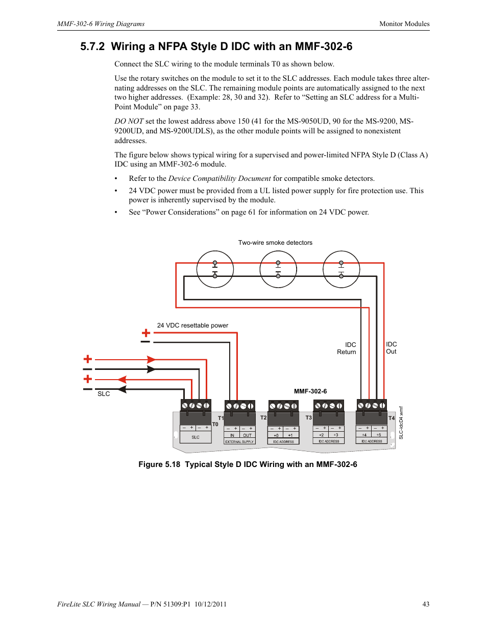 fire lite slc intelligent control panel wiring manual page43 2 wiring a nfpa style d idc with an mmf 302 6, wiring a nfpa style Fire Lite by Honeywell at n-0.co