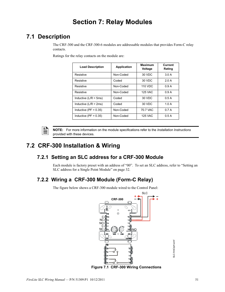 section 7: relay modules, 1 description, 2 crf-300 installation & wiring |  fire-lite slc intelligent control panel wiring manual user manual | page 51  / 80
