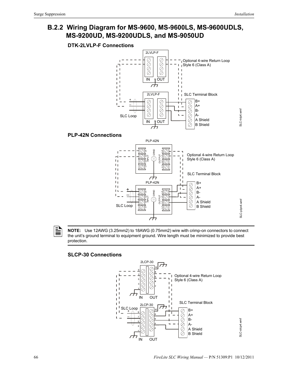 fire lite slc intelligent control panel wiring manual page66 dtk 2lvlp f connections, plp 42n connections, slcp 30 connections Fire Lite by Honeywell at n-0.co