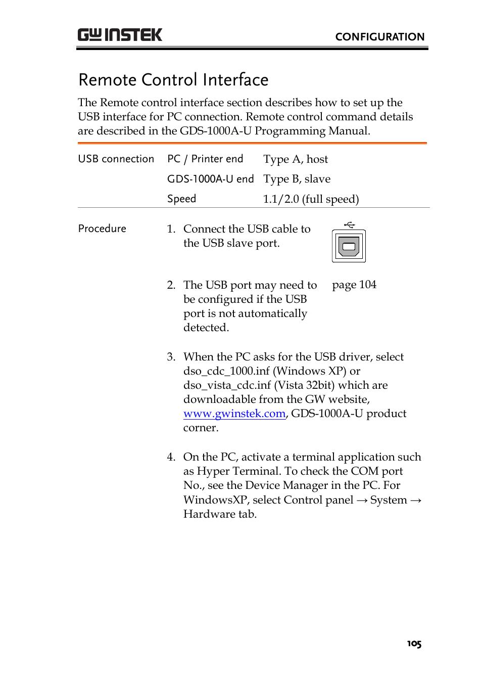 Remote control interface   GW Instek GDS-1000A-U Series User Manual