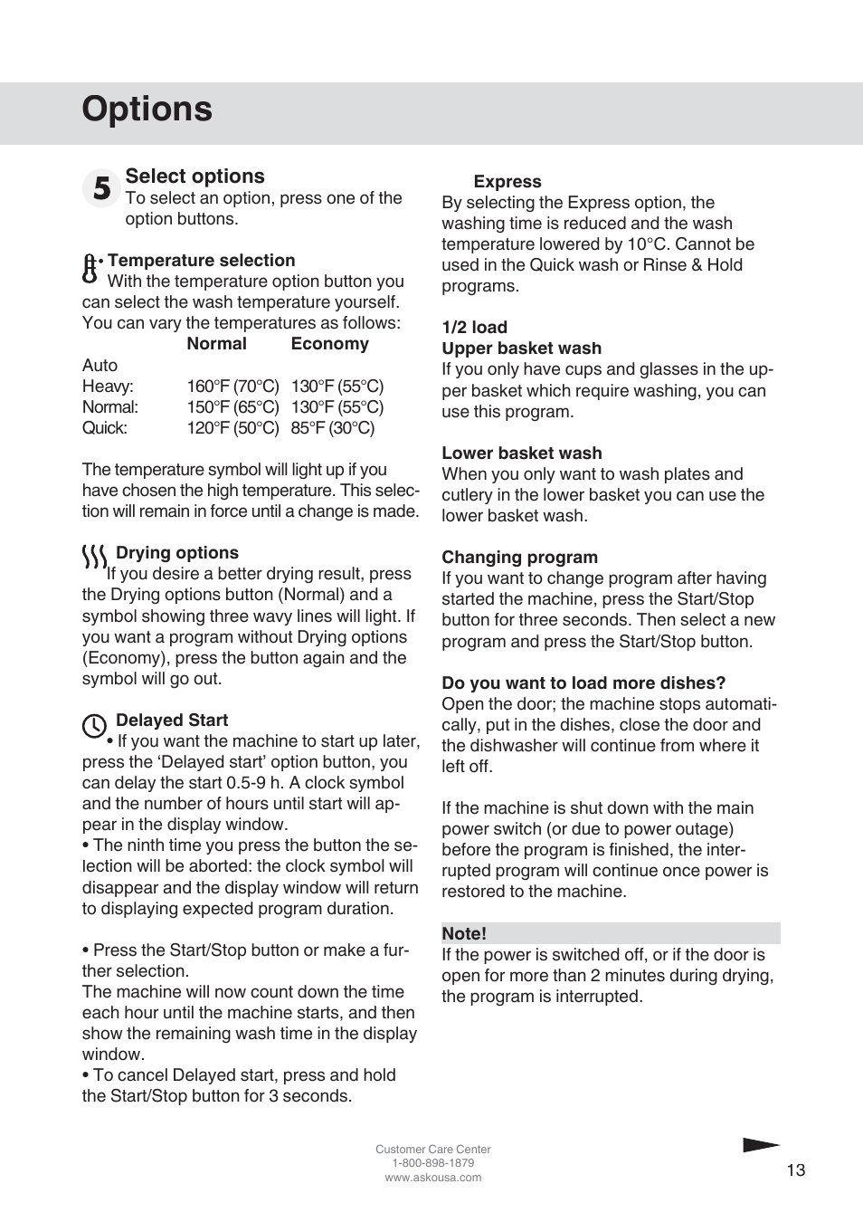 Options | ASKO D3152 User Manual | Page 13 / 28