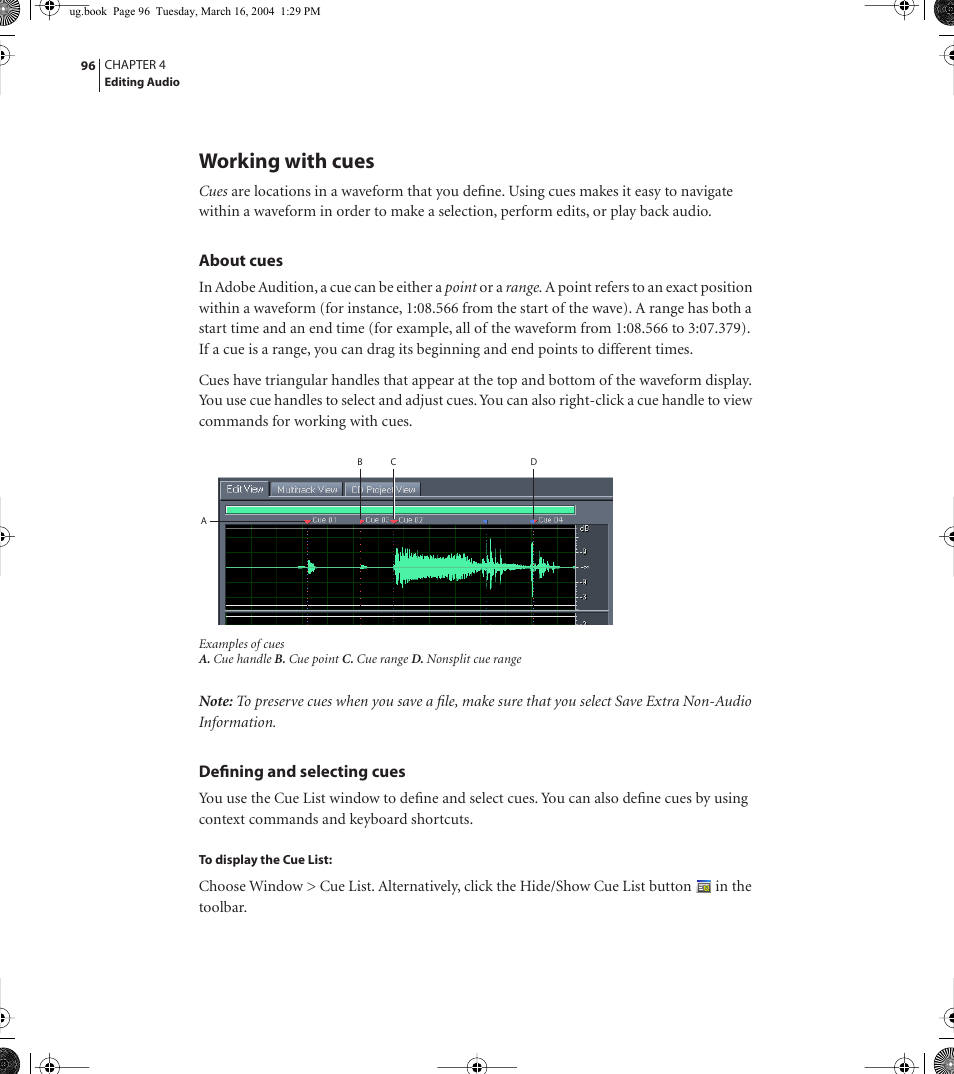 Working with cues | Adobe AUDITION 1 5 User Manual | Page 104 / 308