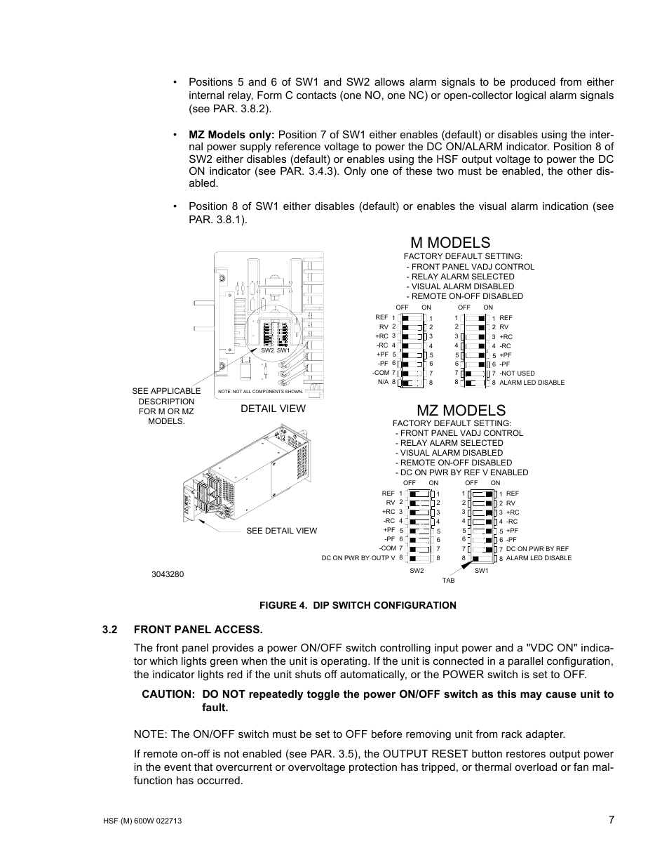Figure 4 Dip Switch Configuration 2 Front Panel Access One Button On Off Relay Kepco Hsf 600w Series Suffix M And Mz Operator Manuals User Manual