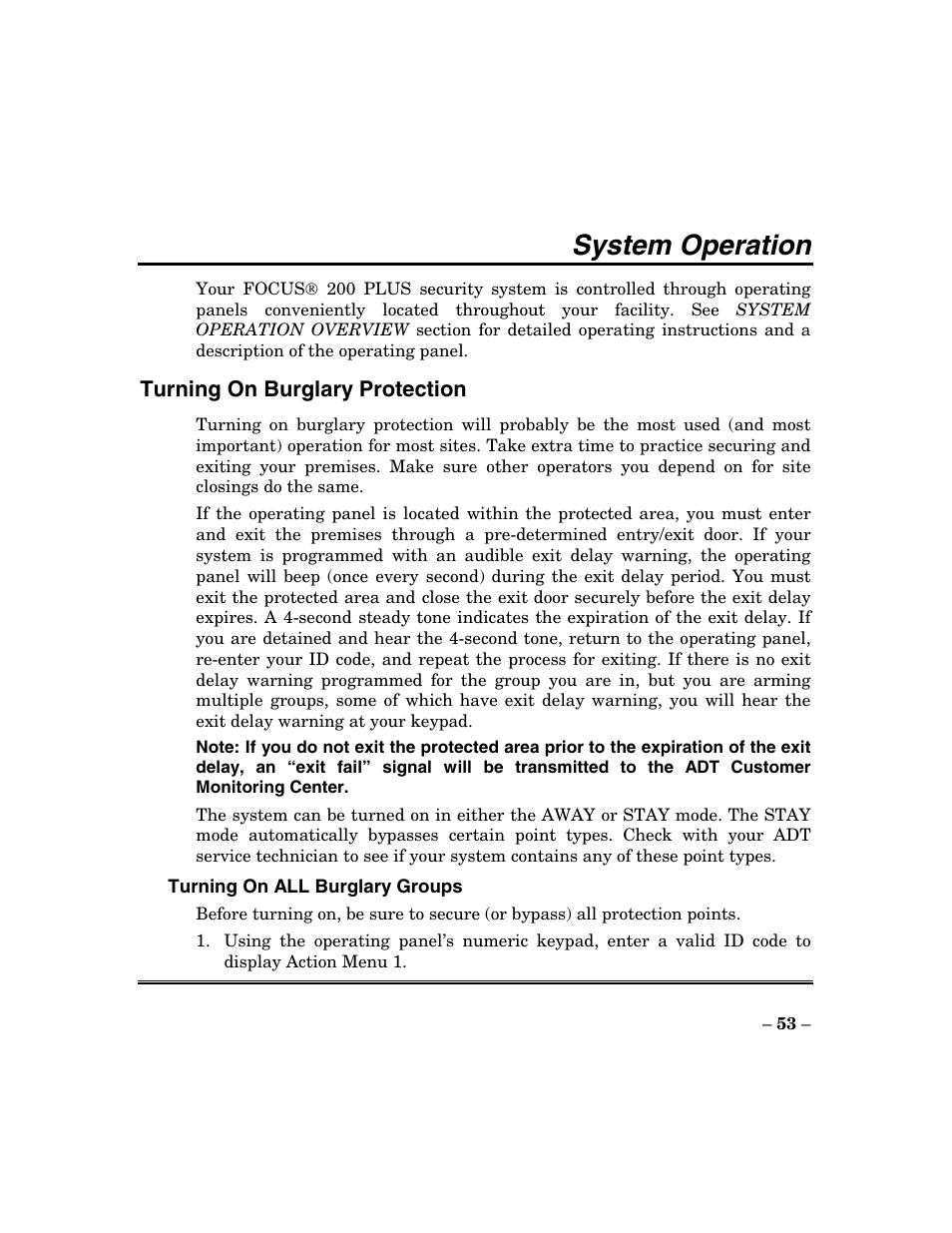 System operation | ADT Security Services Focus 200 Plus User Manual | Page  53 / 88
