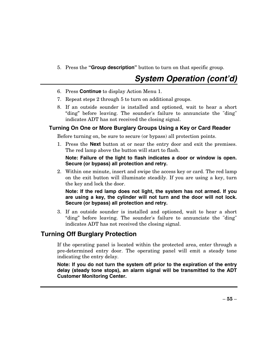System operation (cont'd) | ADT Security Services Focus 200 Plus User Manual  | Page 55 / 88