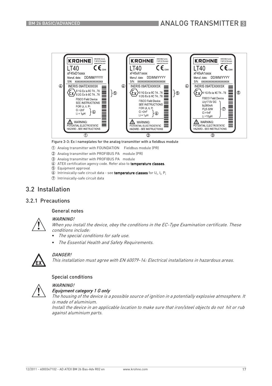 analog transmitter  2 installation  1 precautions