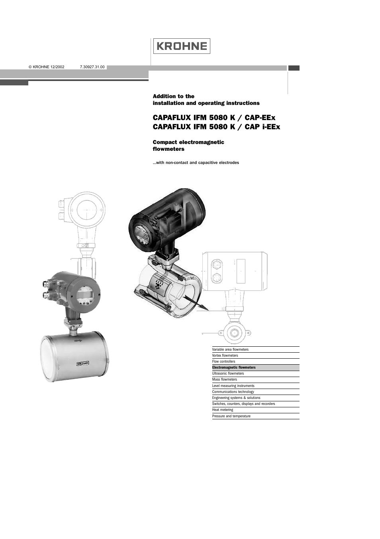 KROHNE CAPAFLUX EEx-ATEX EN User Manual   30 pages