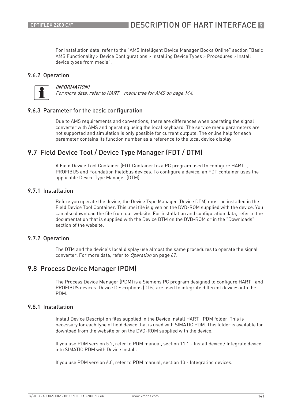 Description of hart interface, 8 process device manager (pdm