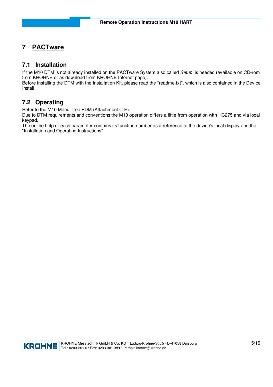 7 pactware, 1 installation, 2 operating   KROHNE M10 Converter HART