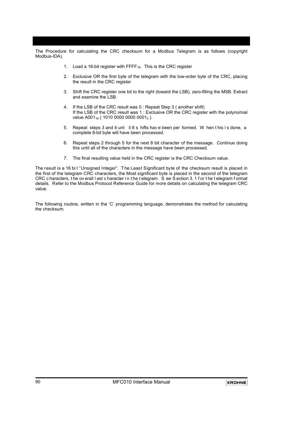 Appendix a : modbus crc checksum calculation | KROHNE MFC