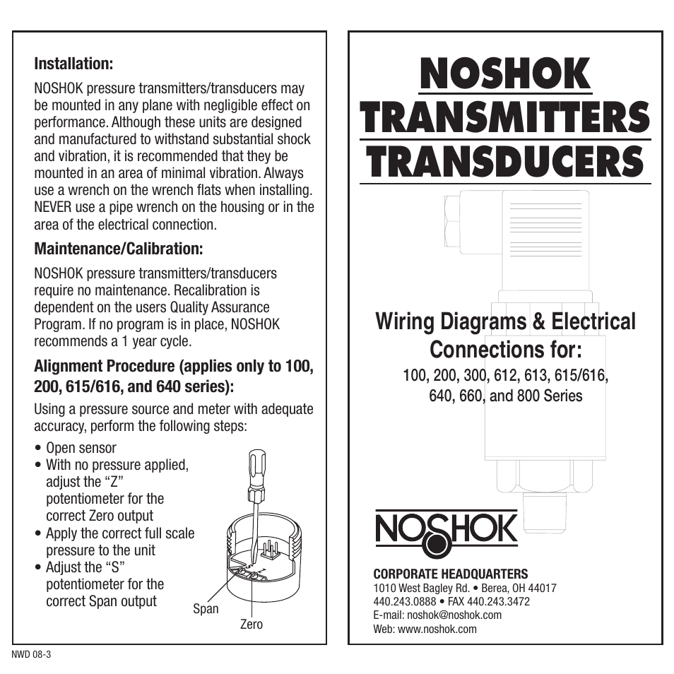 Noshok 100 Series Transmitters Transducers Wiring Diagrams