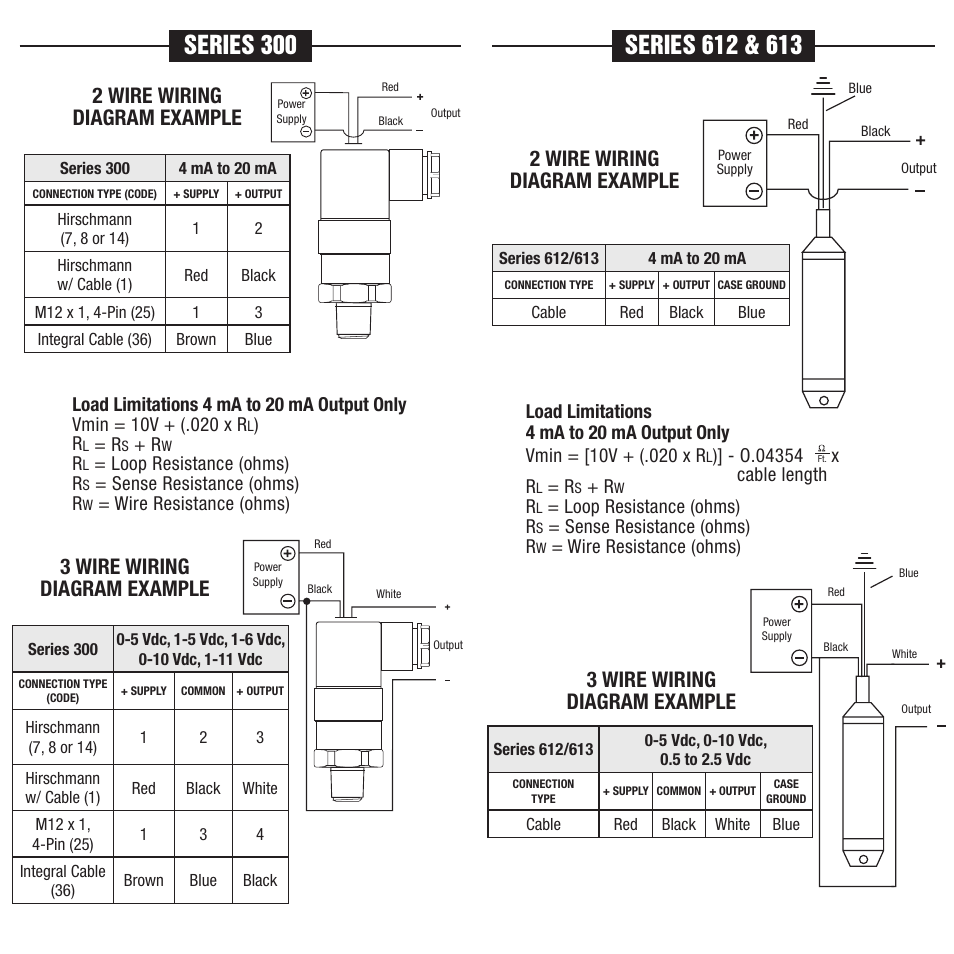 2 wire wiring diagram example, 3 wire wiring diagram example | NOSHOK 100  Series Transmitters Transducers Wiring Diagrams & Electrical Connections  User ...