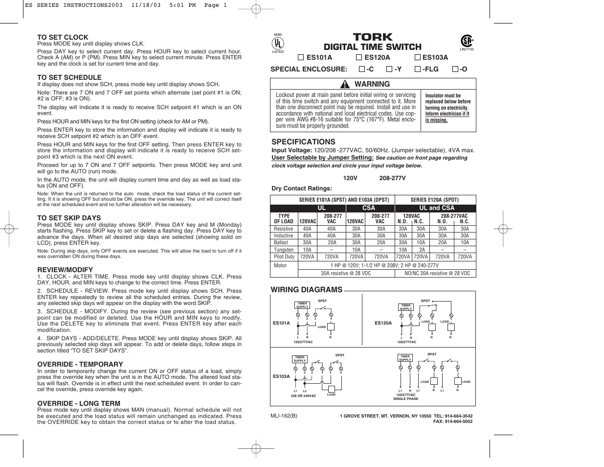 Tork, Digital time switch, Wiring diagrams | Warning, Specifications | NSi  Industries ES103A