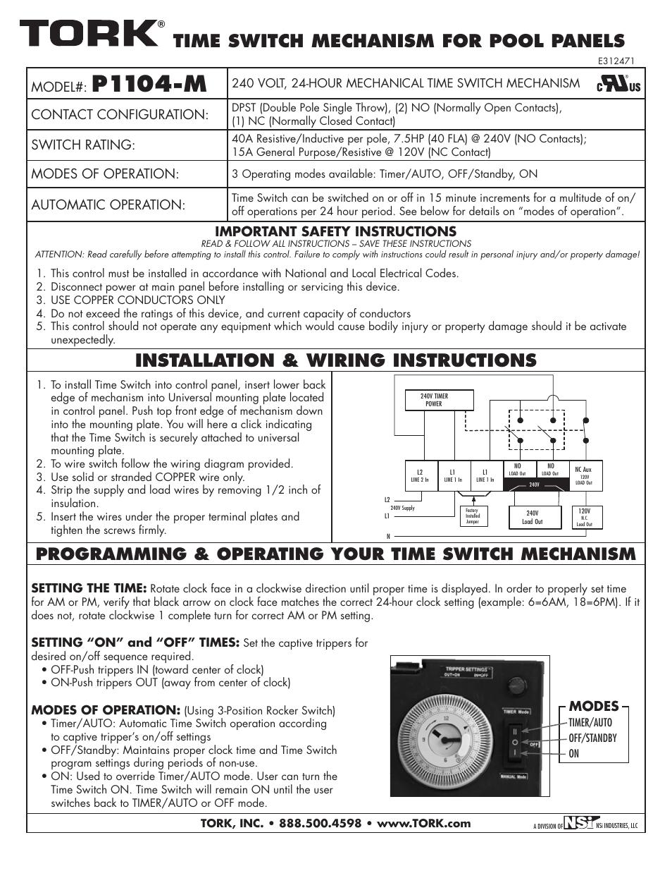 NSi Industries P1104-M User Manual   1 page