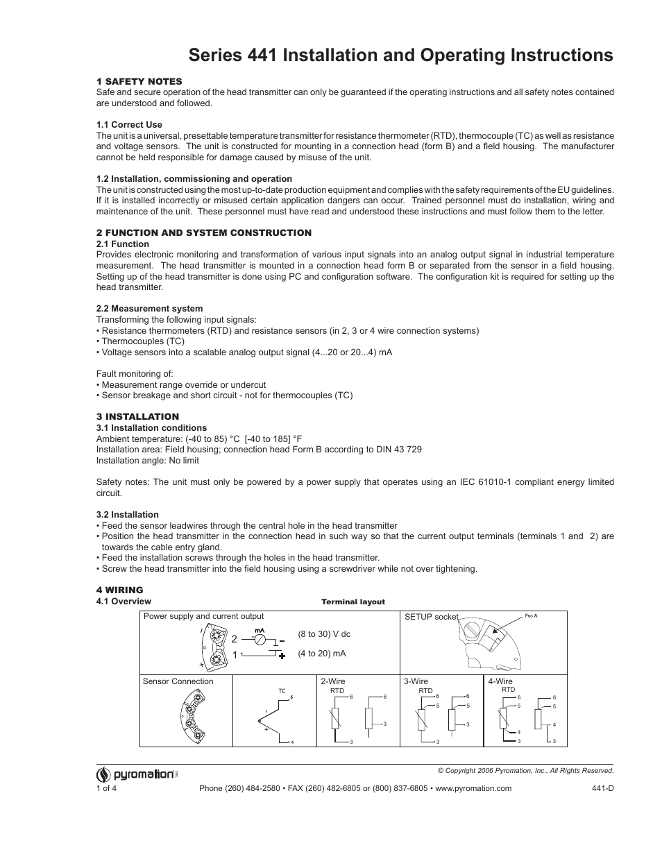 Pyromation Series 441 User Manual 4 Pages