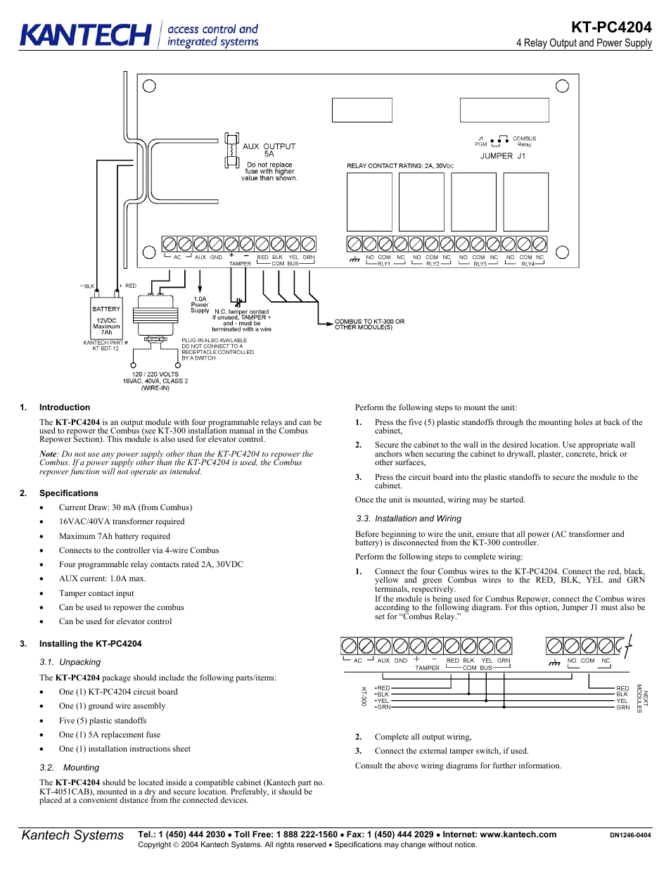 Kantech Kt Pc4204 User Manual 2 Pages Tamper Wiring Diagram For
