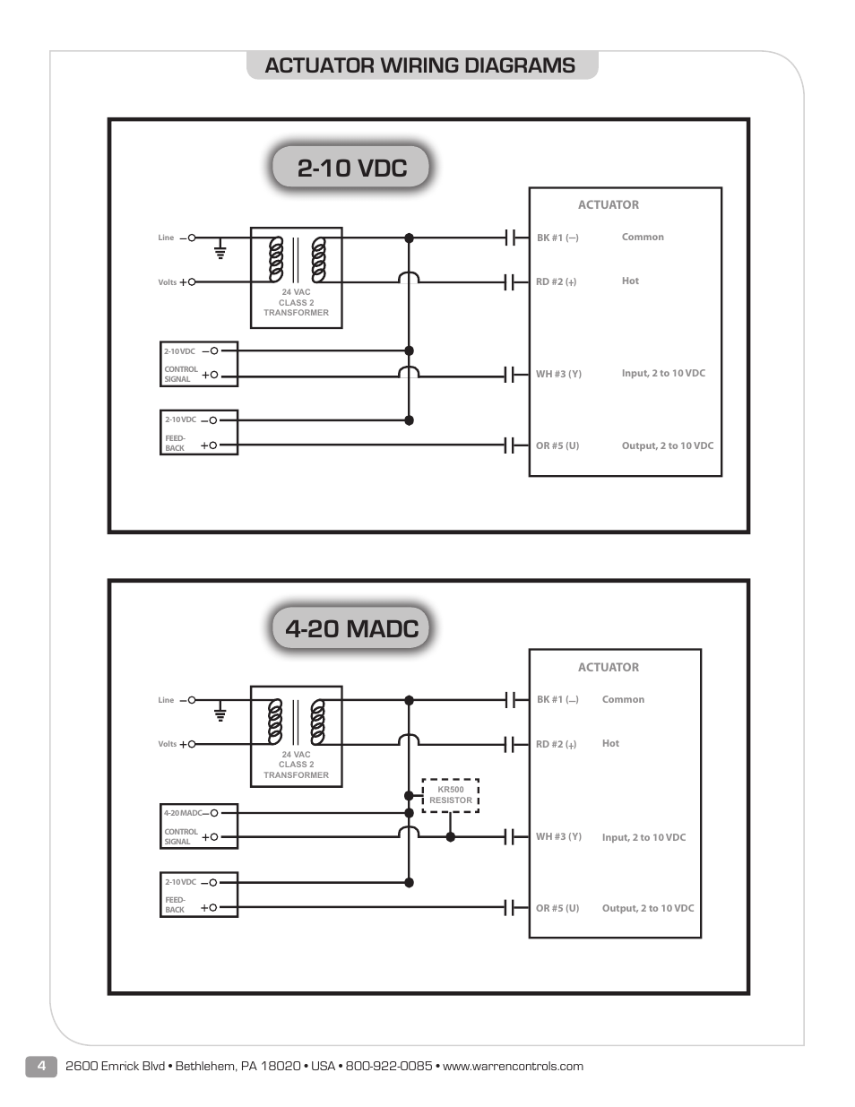 10 Vdc  20 Madc  Actuator Wiring Diagrams
