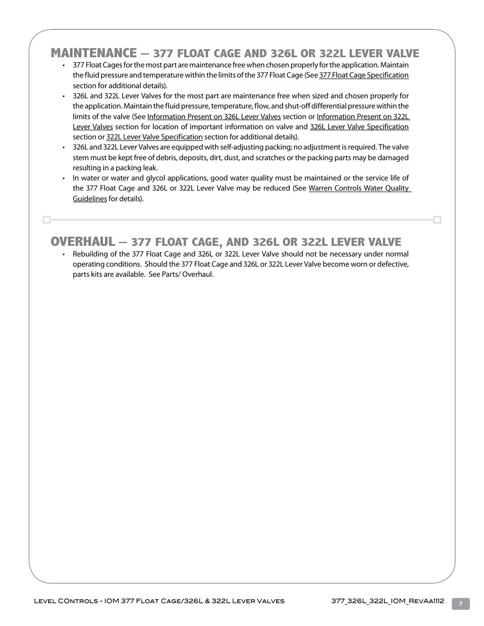 Maintenance, Overhaul | Warren Controls 377 Float Cage User