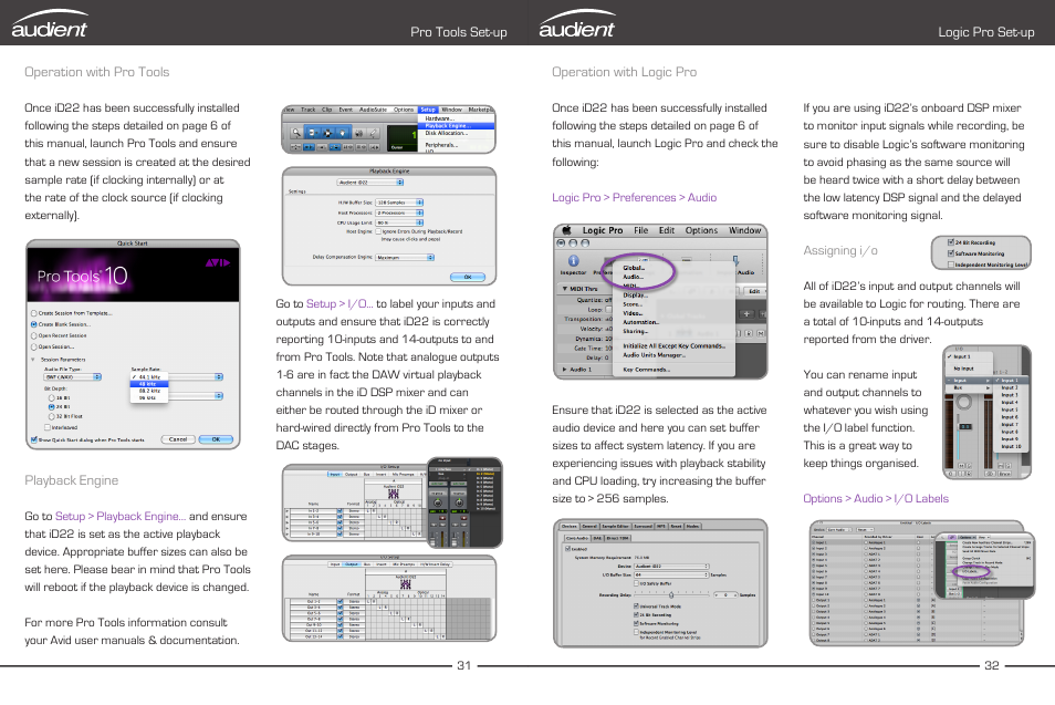 operation with pro tools operation with logic pro audient id22 rh manualsdir com logic pro 10 user manual pdf logic pro user guide