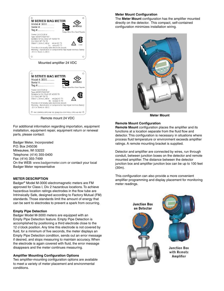 Badger Meter M-Series M3000 User Manual | Page 6 / 40