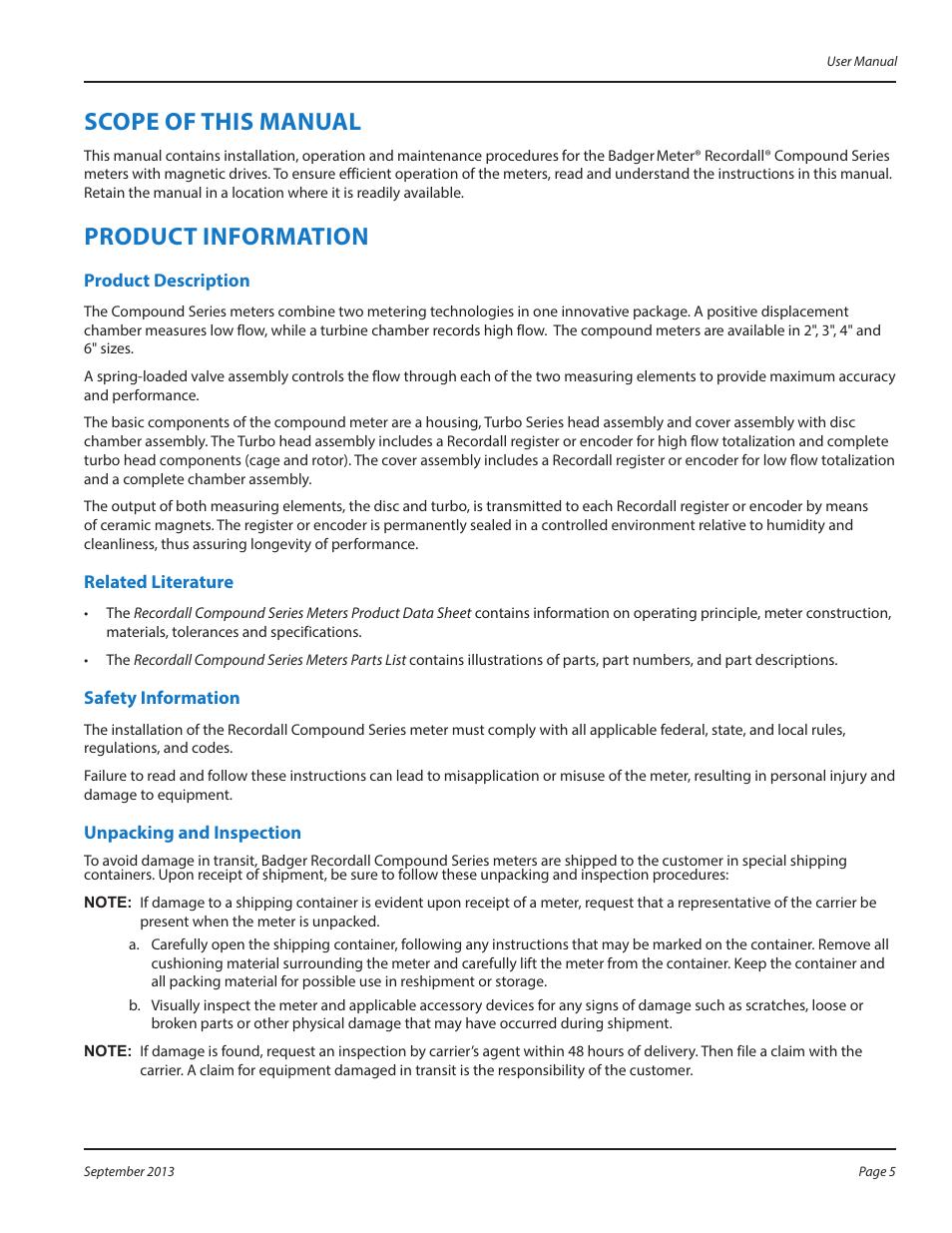 Badger Meter Compound Series User Manual Manual Guide