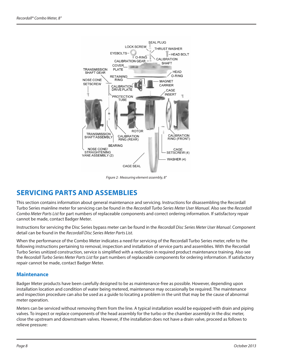 Servicing parts and assemblies, Maintenance | Badger Meter Recordall  Compound Series Meters User Manual | Page 8 / 16