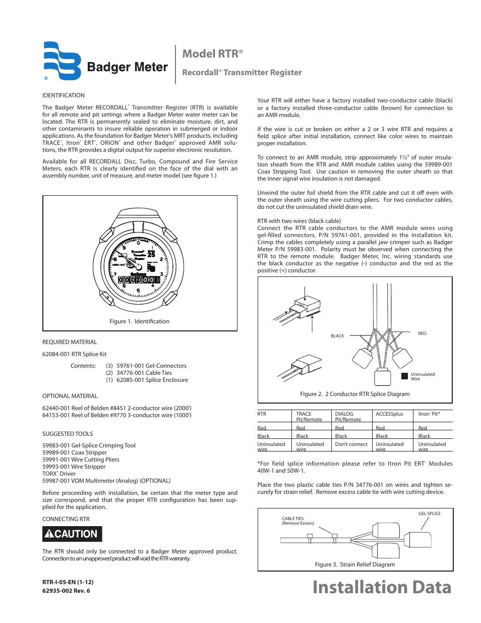 Badger Meter Water Conditioning User Manual | 2 pages | Also for: Recordall  Transmitter Register (RTR)