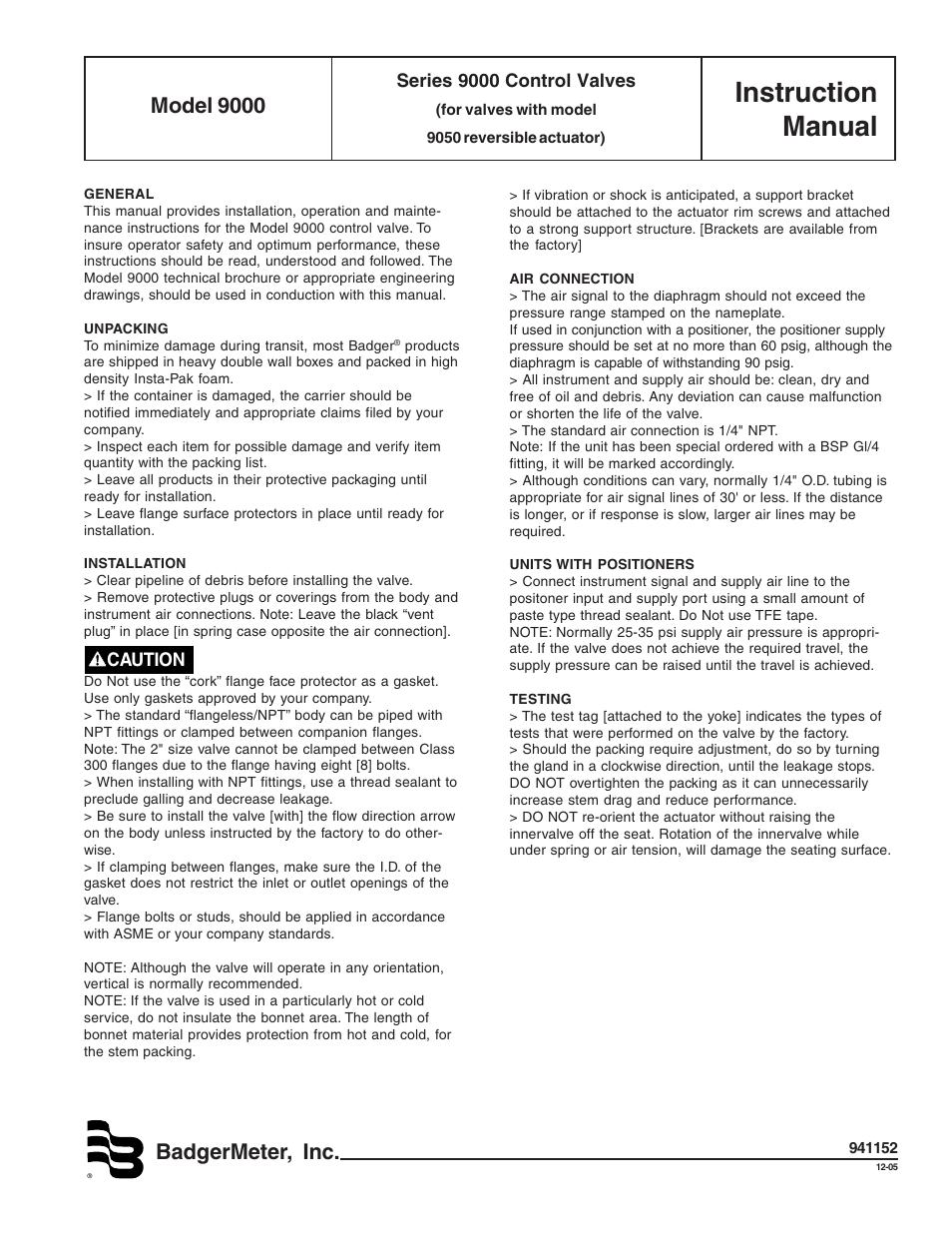 Badger Meter Model 9000 Valve User Manual Manual Guide