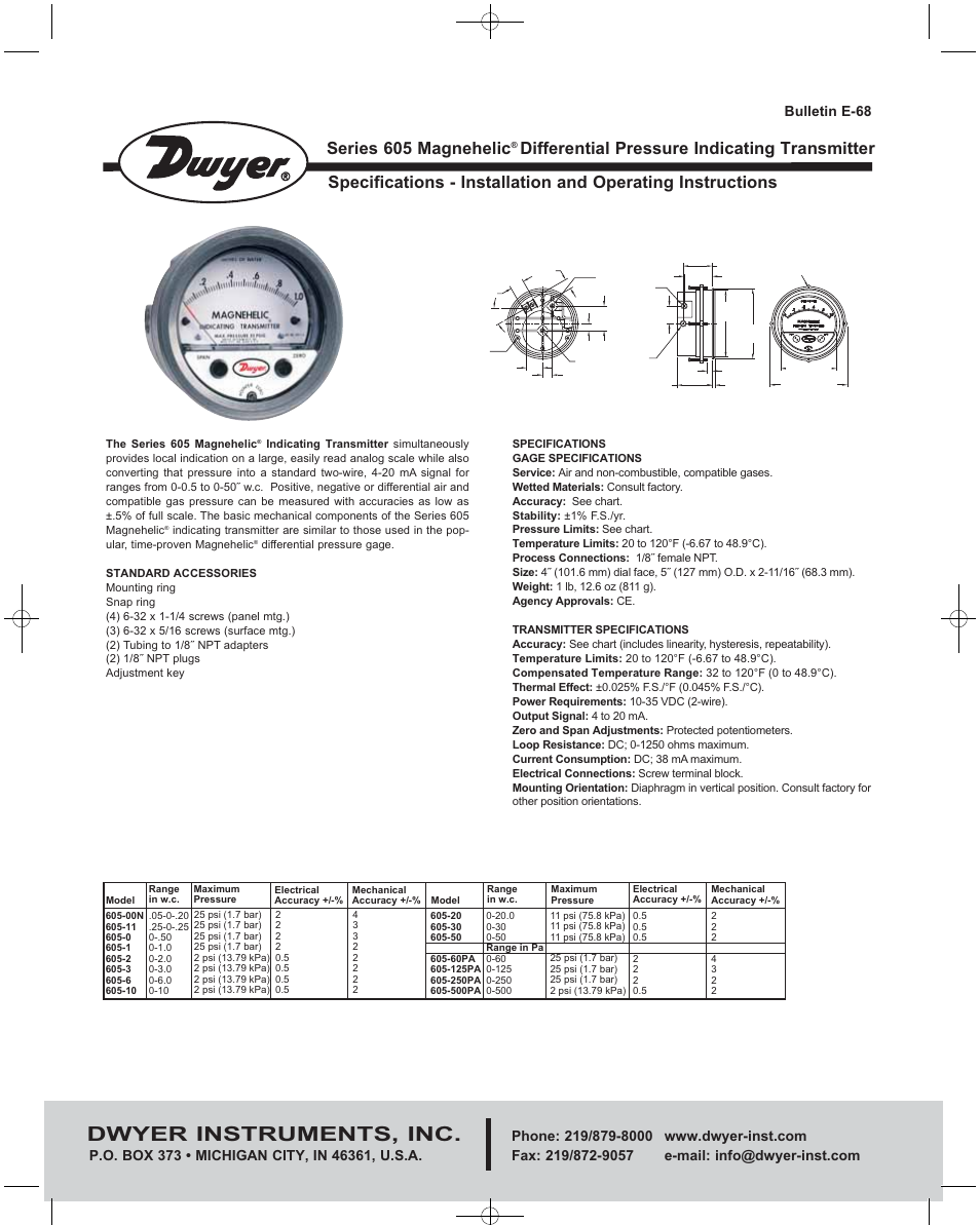Dwyer 605 user manual 4 pages also for at2605 nvjuhfo Gallery