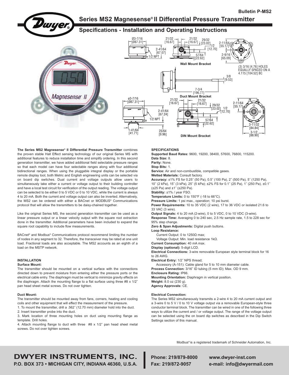 Dwyer MS2-W101-LCD Pressure Transducer
