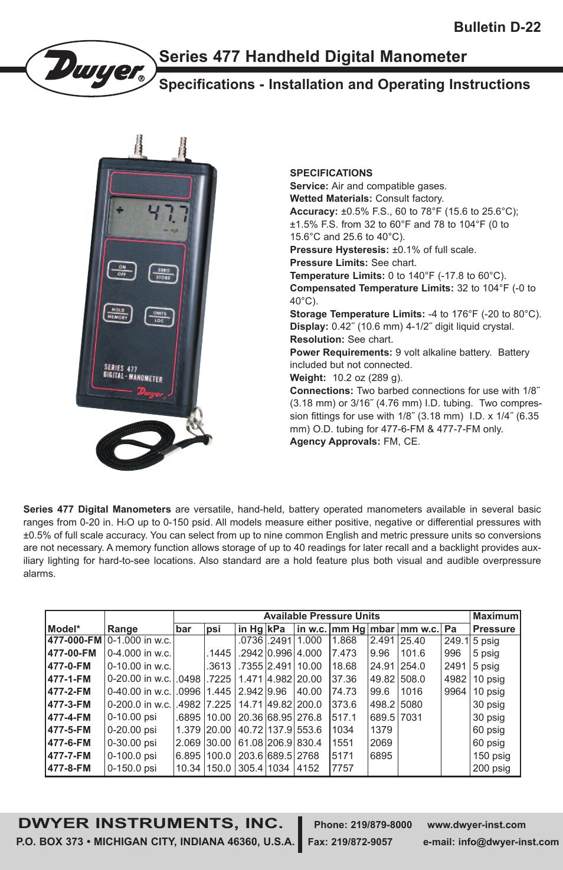 477B-5 0 to 206.9 kPa Dwyer 477B Handheld Digital Manometer 0 to 30 psi