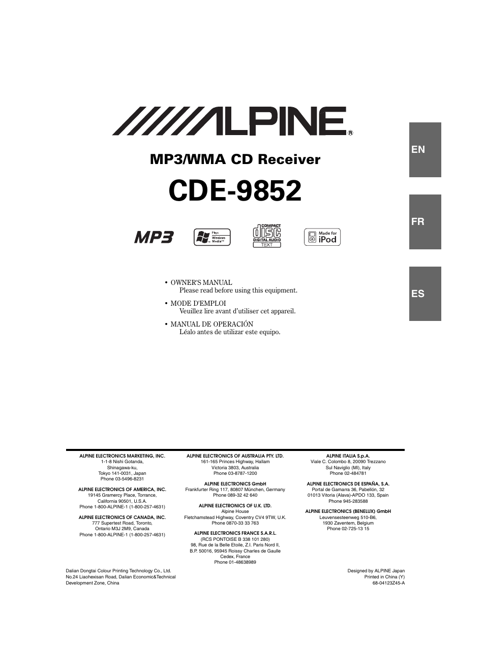 alpine cde 9852 user manual 29 pages rh manualsdir com