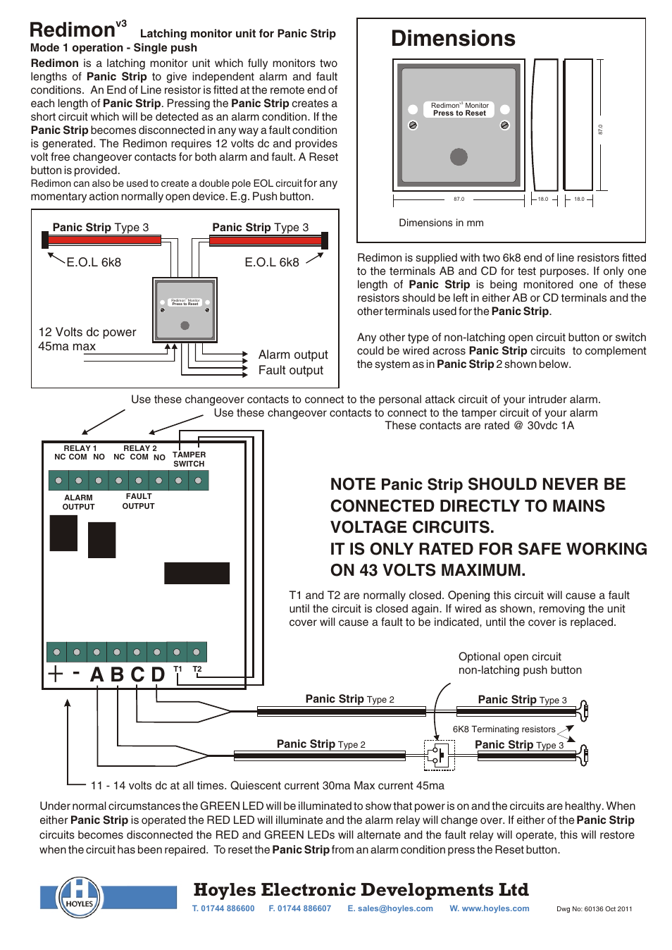 Hoyles Redimon V3 Monitor User Manual 2 Pages End Of Line Resistors Eolr For Normally Open And Closed Circuits