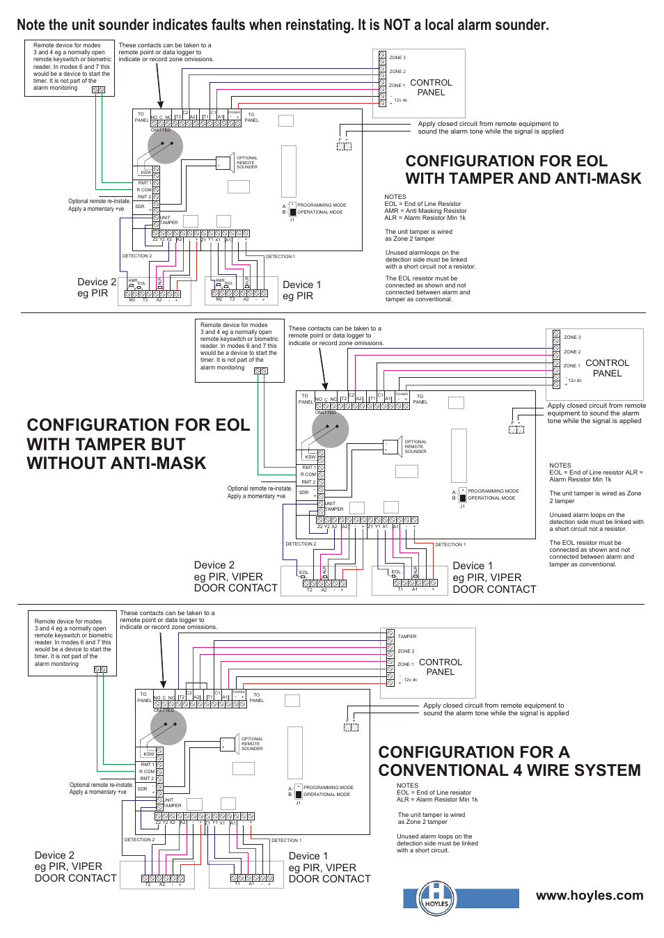 Configuration For A Conventional 4 Wire System End Of Line Resistors Eolr Normally Open And Closed Circuits Eol With Tamper Anti Mask Device 2 Eg Pir Viper Door Contact Hoyles Zoneguard