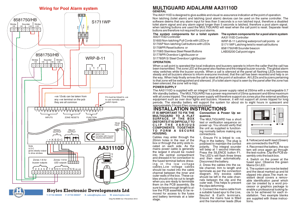 hoyles six zone assistance call panel for toilet or pool alarms user rh manualsdir com Cobra Car Alarm Wiring Diagram Basic Car Alarm Diagram