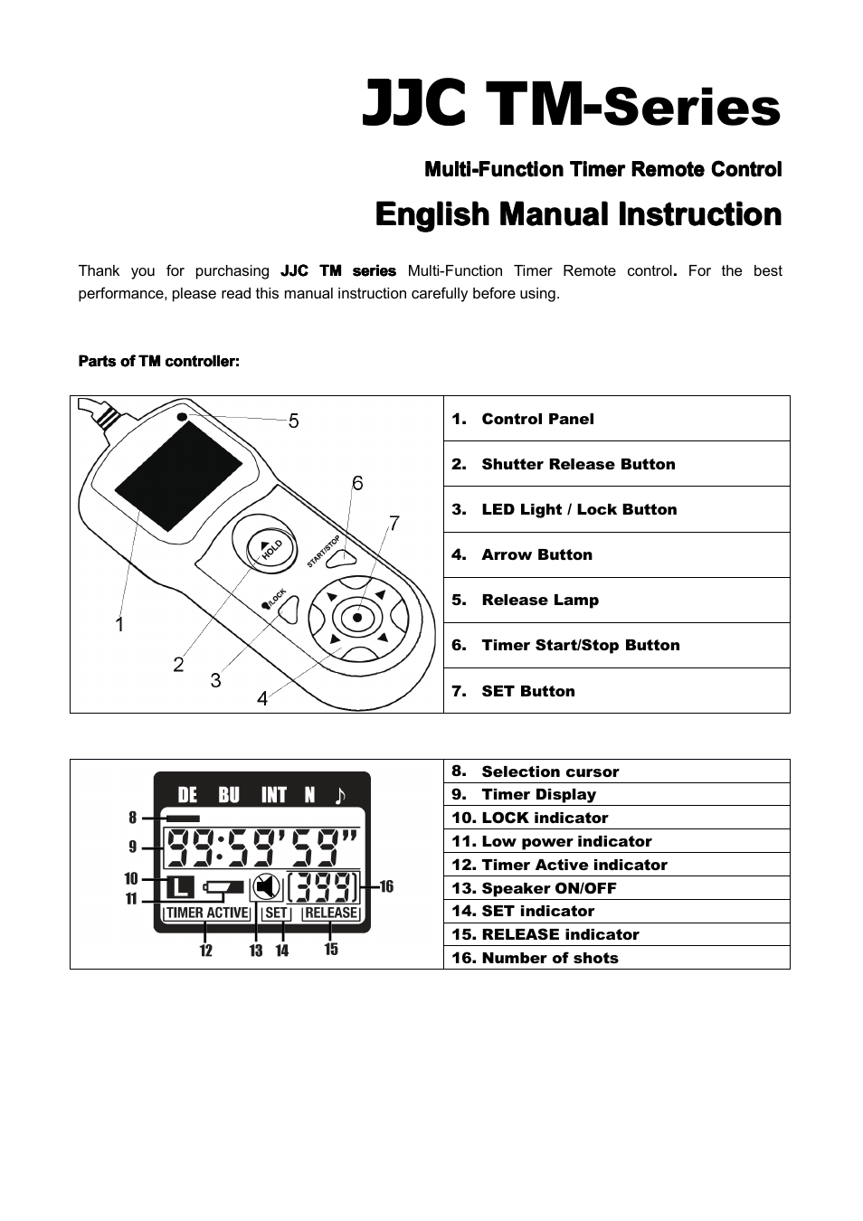 timer remote control instruction manual