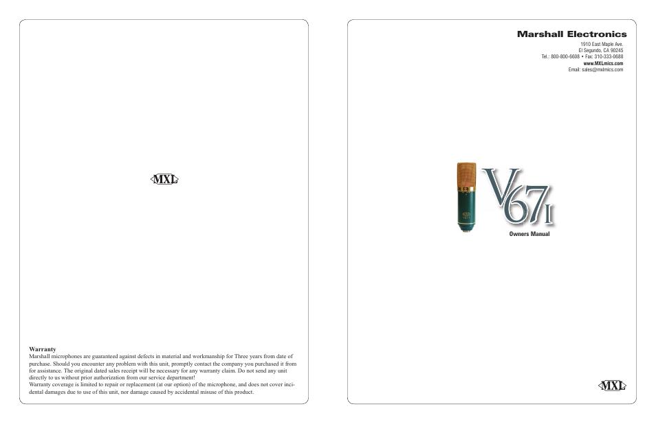 MXL V67i User Manual   2 pages   Also for: V67i Tube