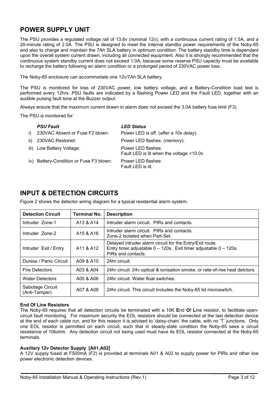 Power Supply Unit Input Detection Circuits Noby Uk 65 User Wiring Zones Manual Page 3 12