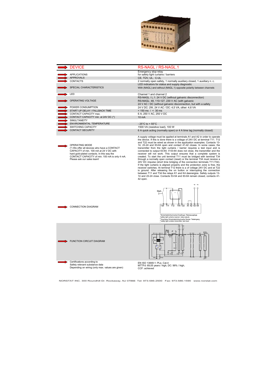 Device Rs Nagl Nagl1 Norstat Safety Relays User Manual 24 Volt Dc Relay Wiring Diagram Page 43