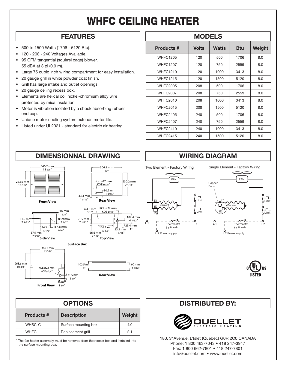 Whfc ceiling heater, Distributed by: features, Models options wiring diagram  | Dimensionnal drawing