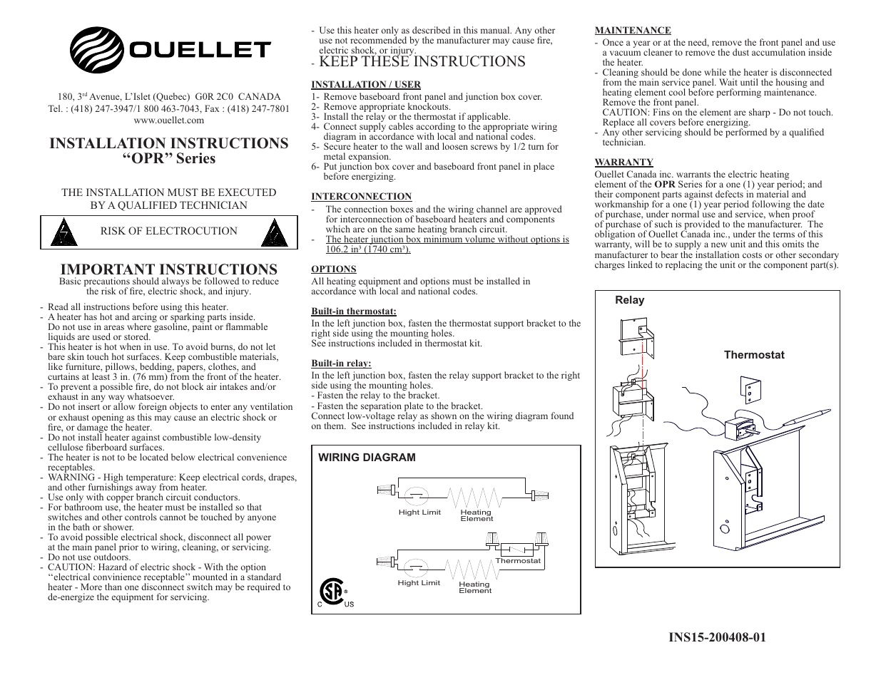 Ouellet Wall Heater Wiring Diagram Reinvent Your 220 Opr User Manual 1 Page Rh Manualsdir Com Electric