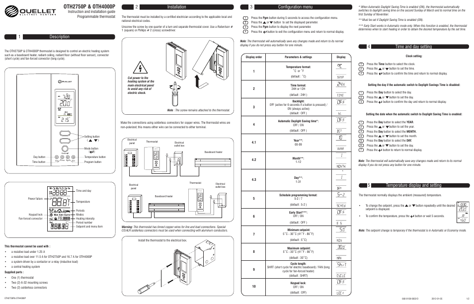 Ouellet Oth2750p User Manual 2 Pages Also For Oth4000p