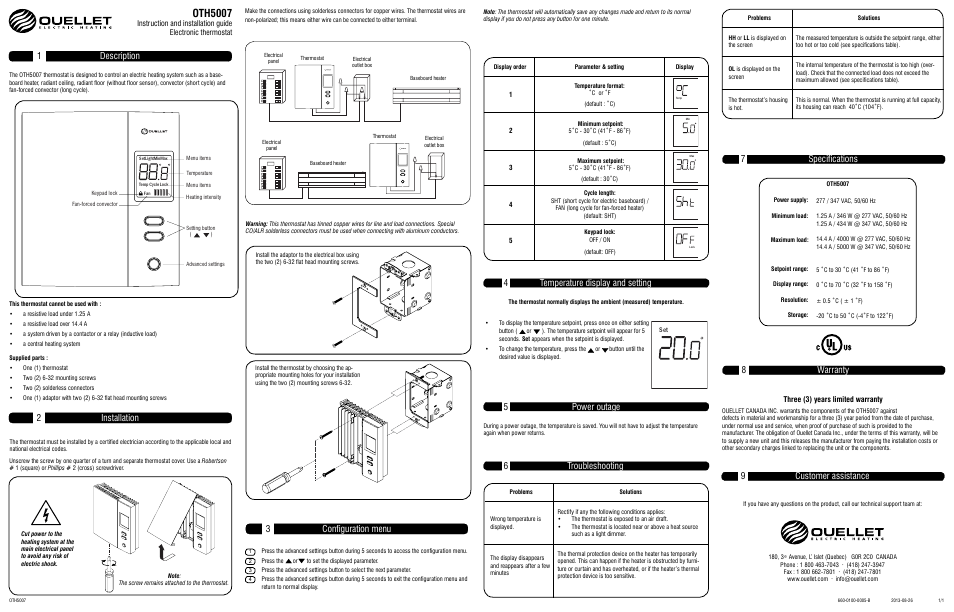 Ouellet Oth5007 User Manual