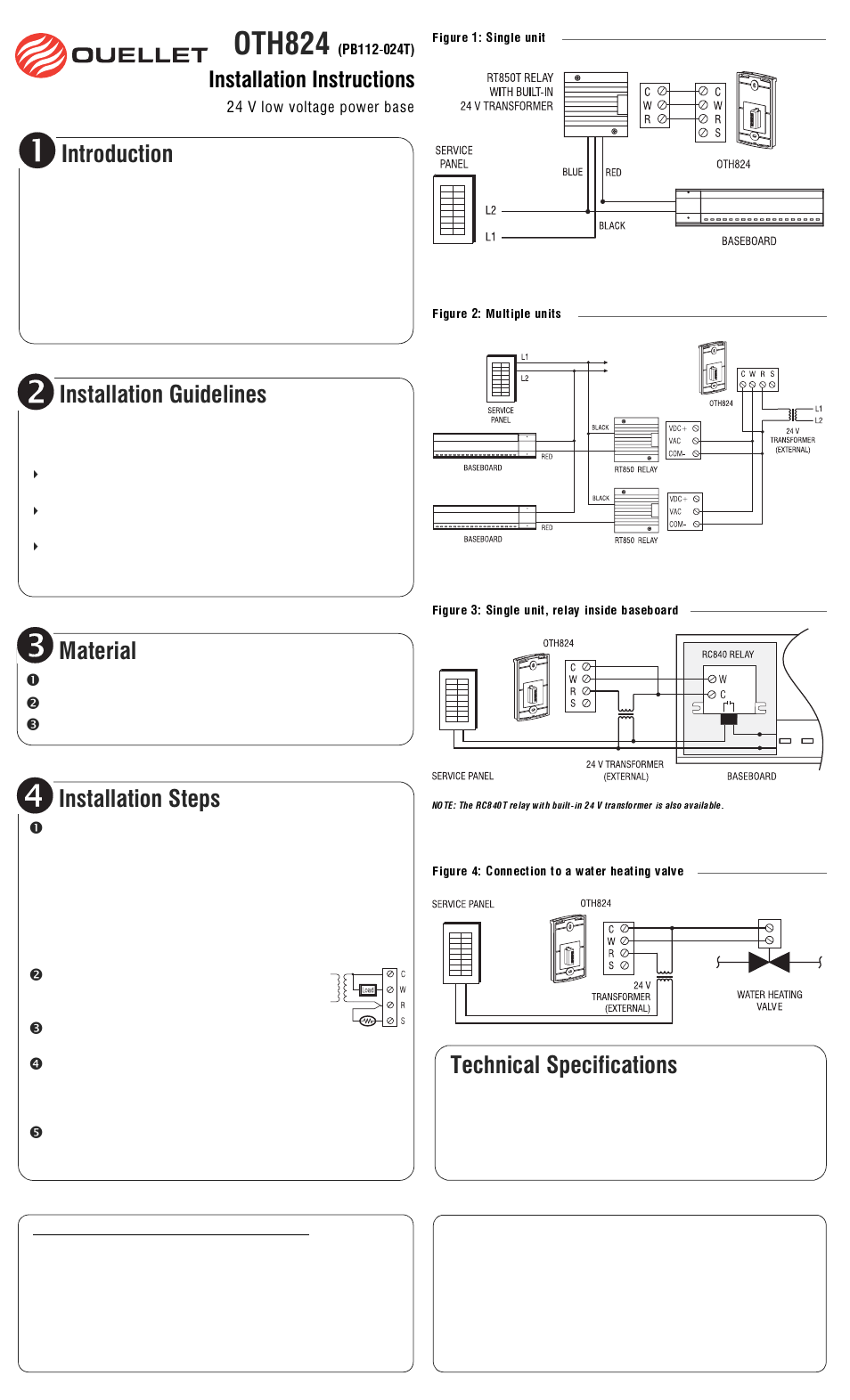 Ouellet OTH824 User Manual   1 page