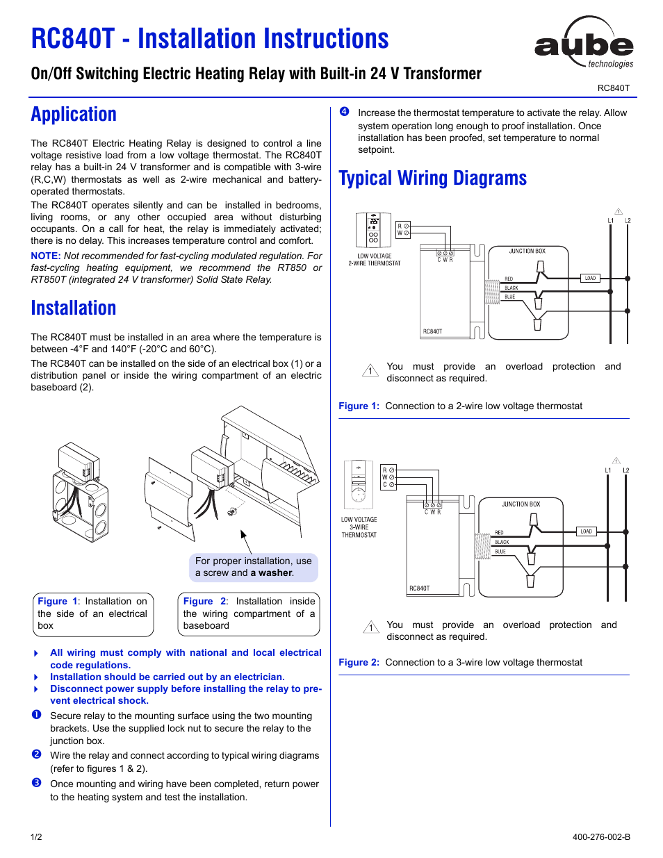Ouellet Rc840 User Manual 2 Pages With 3 Wire Thermostat Wiring On Typical Diagram