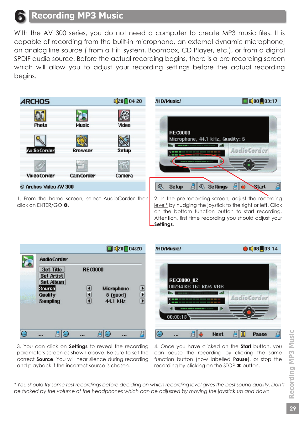 Recording mp3 music | ARCHOS AV340 User Manual | Page 29 / 52