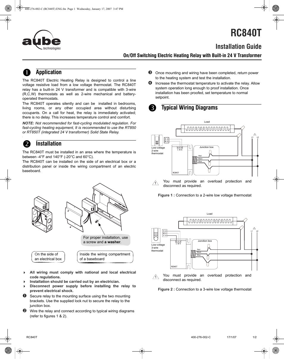 Aube Technologies Rc840t User Manual 2 Pages Junction Box Wiring Regulations