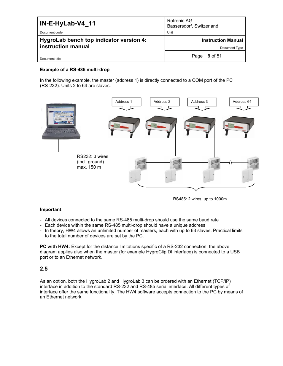 In E Hylab V4 11 Rotronic Hygrolab User Manual Page 9 51 Rs485 Multidrop Wiring