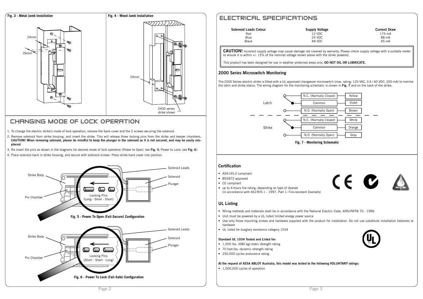 Trimec Es2000 Series Monitored Electric Strike User Manual